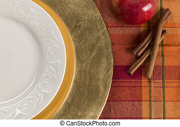 Abstract Table Setting of Apple and Cinnamon with Plate