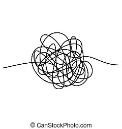 Abstract tangle thread. Vector illustration isolated on white background