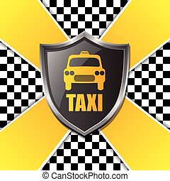 Abstract taxi background design with shield and stripes