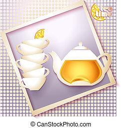 Abstract tea time card