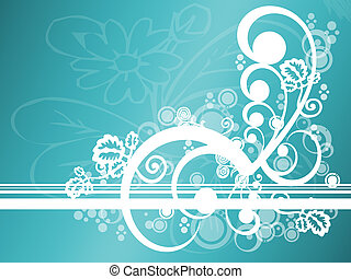 Abstract teal and white floral design; computer illustration