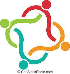 Abstract corporate teamwork moon shape icon - 6 elements clipart ...