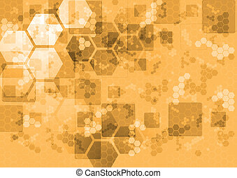 Abstract tech background with squares and hexagons