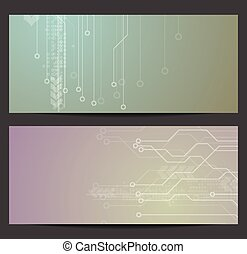 Abstract tech circuit board banners