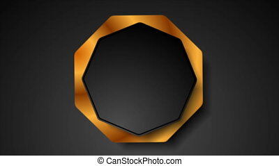 Abstract tech corporate octagon sticker label motion background. Seamless looping. Video animation Ultra HD 4K 3840x2160