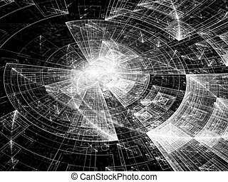 Abstract tech disk - digitally generated image