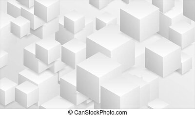 Abstract tech geometric 3d motion background with paper cubes