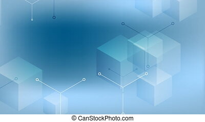 Abstract tech geometric cubes video animation