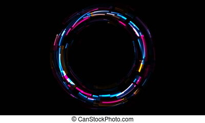 Abstract tech glowing neon circles motion background with ...