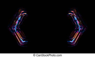 Abstract tech glowing neon geometric shape motion background...