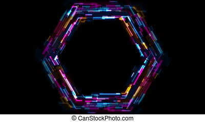 Abstract tech glowing neon hexagon motion background with glitch effect