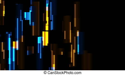 Abstract tech glowing neon lines motion background with ...