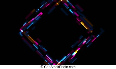 Abstract tech glowing neon square motion background with ...