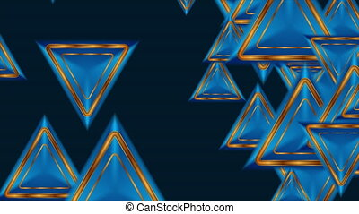 Abstract tech motion background with blue and golden triangles. Video animation Ultra HD 4K 3840x2160