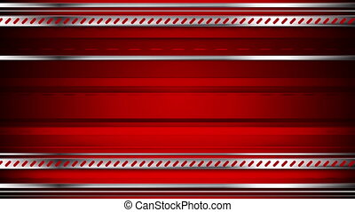Abstract tech red video animation with metallic stripes