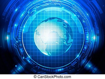 Abstract Tech with Globe Background