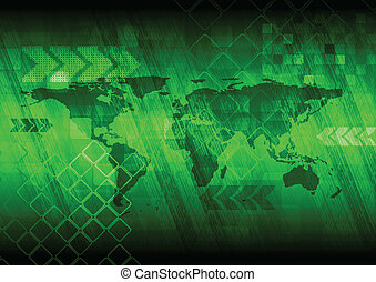 Green hi-tech design with world map. Vector eps 10