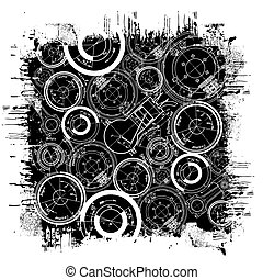 abstract technical drawing in grunge black square