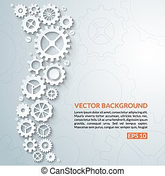 Abstract techno background with white gear wheels. Vector illustration