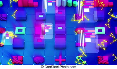 Abstract Techno Symbols Placed Askew - Splendid 3d rendering...