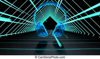Abstract technological background of headphones