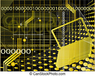 Abstract technological background with coordinates, figures...