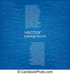 Abstract technological blue background with elements of the microchip