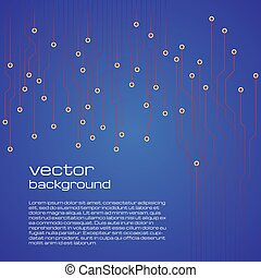 Abstract technological blue background with elements of the microchip.
