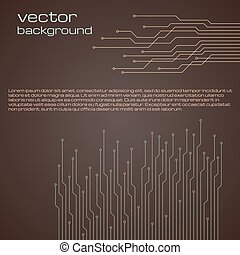 Abstract technological brown background with elements of the microchip.