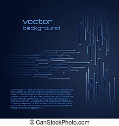 Abstract technological dark blue background with elements of the microchip.