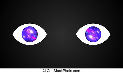 Abstract technological eyes with universe in pupils, 3D rendering