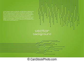 Abstract technological green background with elements of the microchip.