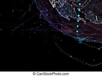 abstract, technologie, achtergrond, met, globale mededeling, hoog, gedetailleerd, globe., 3d, illustratie