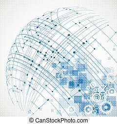abstract, technologie, globe, achtergrond., vector