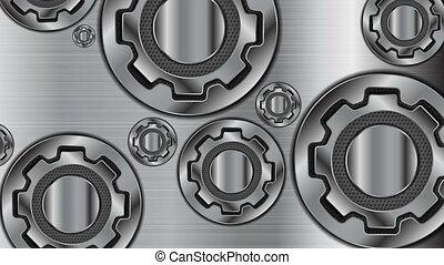 abstract, technologie, metalen, toestellen, mechanisme, video, animatie