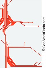 abstract, technologie, rood, circuit plank