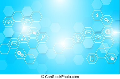 Abstract Technology and icons with hexagon on blue glowing background