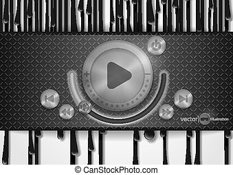 Abstract Technology App Icon With Music Button.