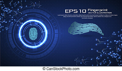 Abstract technology background. Cyber security concept. Finger Scan in Futuristic Style. Biometric id with Futuristic HUD Interface. Fingerprint Scanning Technology Concept Illustration