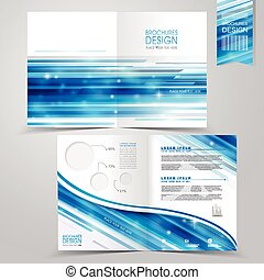 abstract technology background design for half-fold brochure