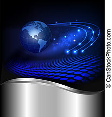Abstract technology background with globe Vector ...