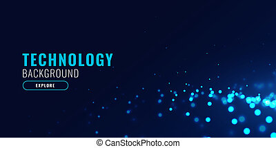 abstract technology background with glowing blue particle dots