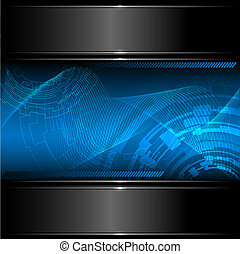 Abstract technology background with metallic banner. Vector....
