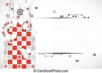 Abstract technology background with red squares and elements.