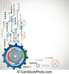 Abstract technology background with various technological elements