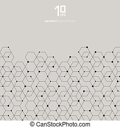 Abstract technology black hexagons pattern and node connection on gray background