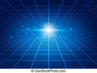 Abstract Technology Blue Background with Bright Flare
