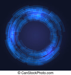 Abstract Technology Blue Circles Background. Vector