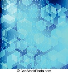 Abstract technology blue geometric hexagon pattern background.