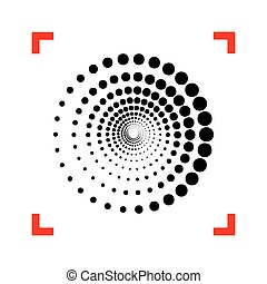 Abstract technology circles sign. Black icon in focus corners on